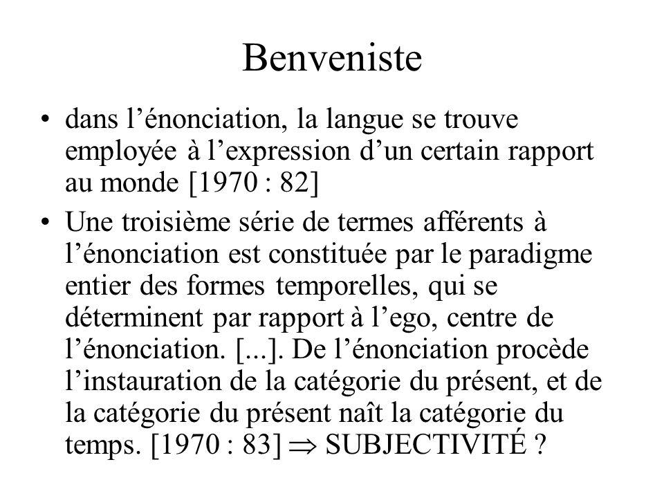 Benveniste dans l'énonciation, la langue se trouve employée à l'expression d'un certain rapport au monde [1970 : 82]